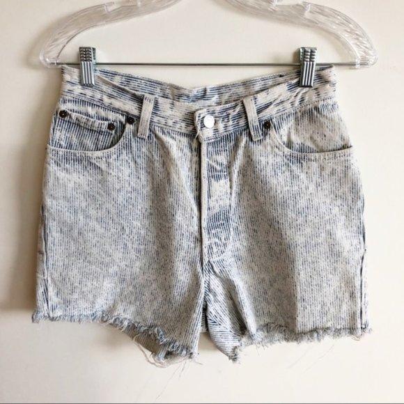Vintage Levi's Railroad Stripe Cut Off Jean Shorts